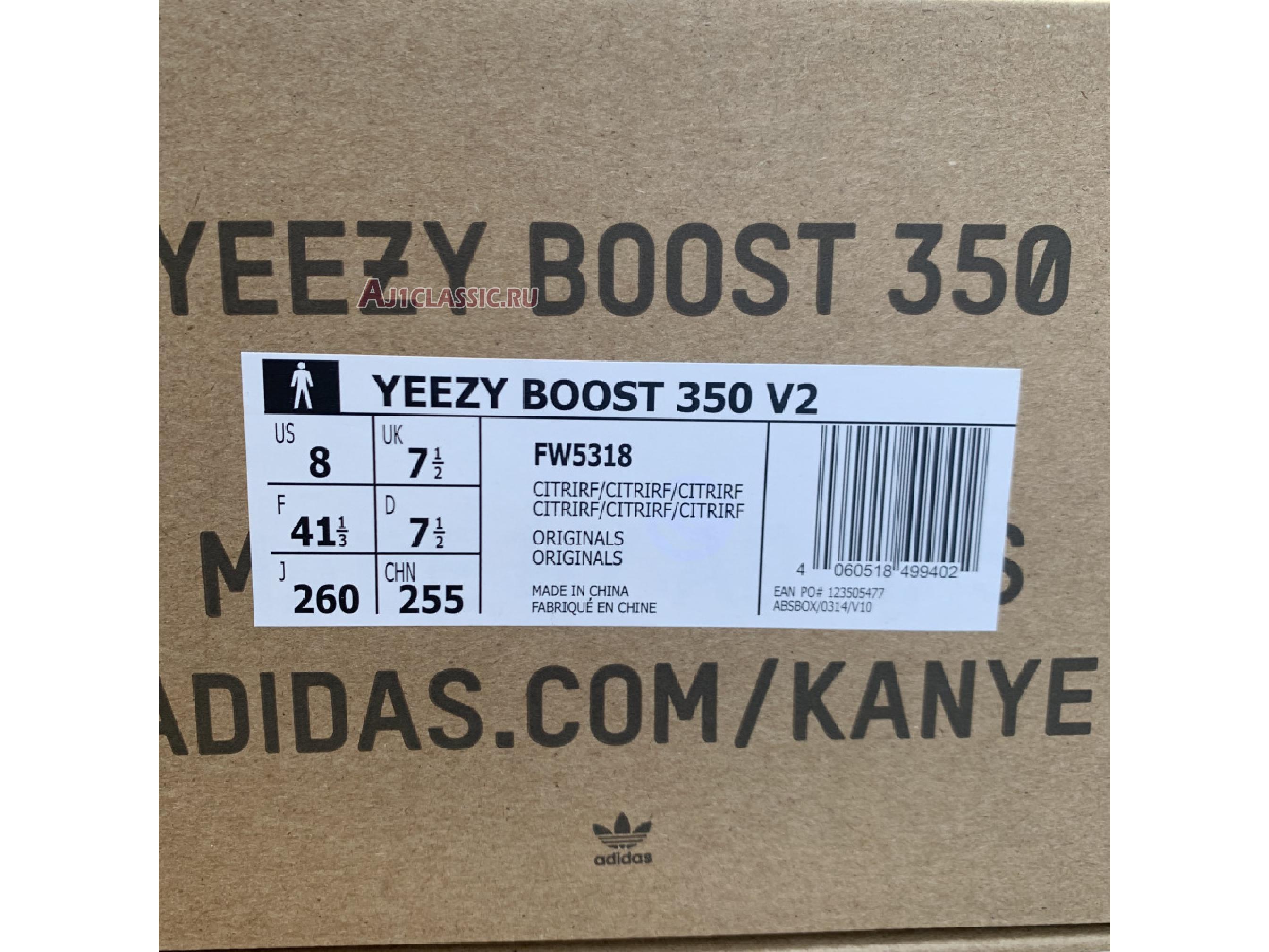 "Adidas Yeezy Boost 350 V2 ""Citrin Reflective"" FW5318"