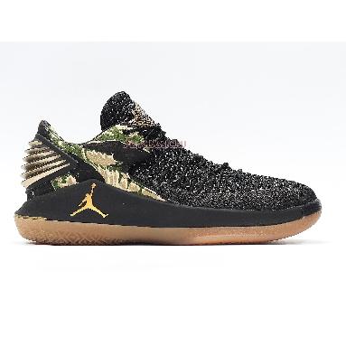 Air Jordan 32 Low PF Camo AH3347-021 Black/Metallic Gold-White Sneakers