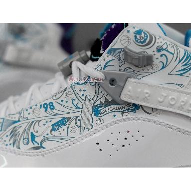 Air Jordan 6 Rings Utah 322992-153 White/Varsity Purple-Teal Silver Sneakers