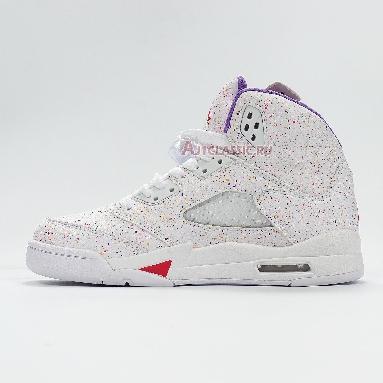 Air Jordan 5 Retro GG Easter CT1605-100 White/Laser Crimson/Voltage Purple Sneakers