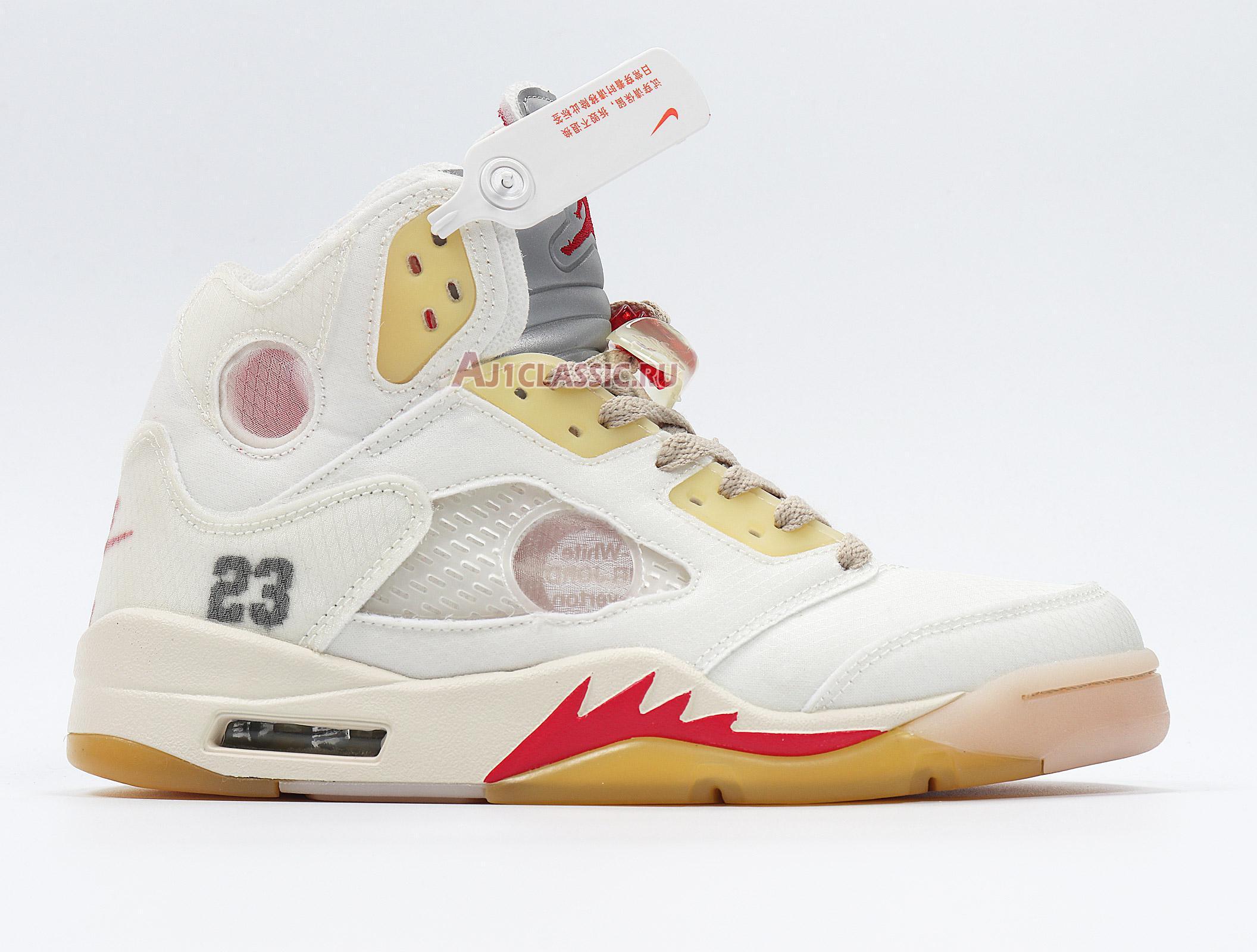 """OFF-WHITE x Air Jordan 5 """"Sail"""" CT8480-100"""