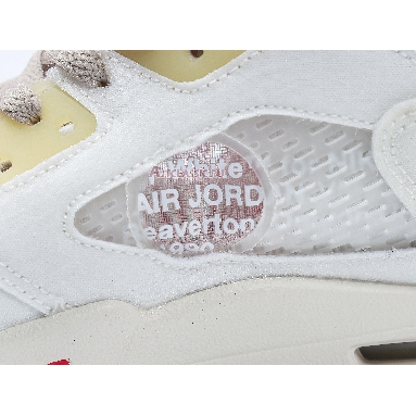 OFF-WHITE x Air Jordan 5 Sail CT8480-100 Sail/Fire Red-Muslin-Black Sneakers