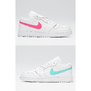 Air Jordan 1 Low White Neon CW7035-100 White/Multi-Color/Light Aqua Sneakers