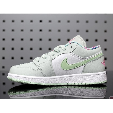 Air Jordan 1 Low Barely Grey Spruce 554723-051 Barely Grey/White/Laser Fuchsia/Frosted Spruce Sneakers