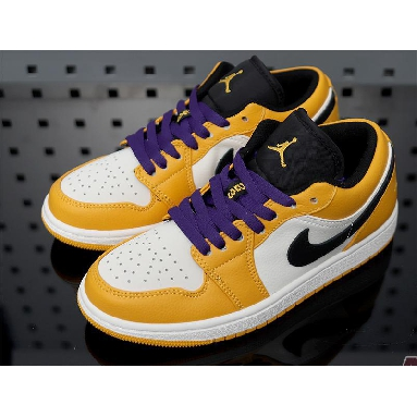 Air Jordan 1 Low Lakers 553558-700 University Gold/Pale Ivory-Court Purple-Black Sneakers