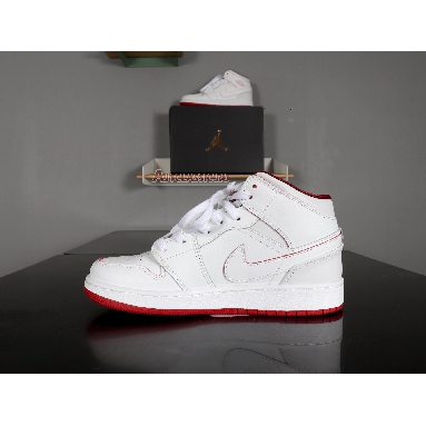 Air Jordan 1 Retro Mid White Gym Red 554725-103 White/Gym Red-Black Sneakers