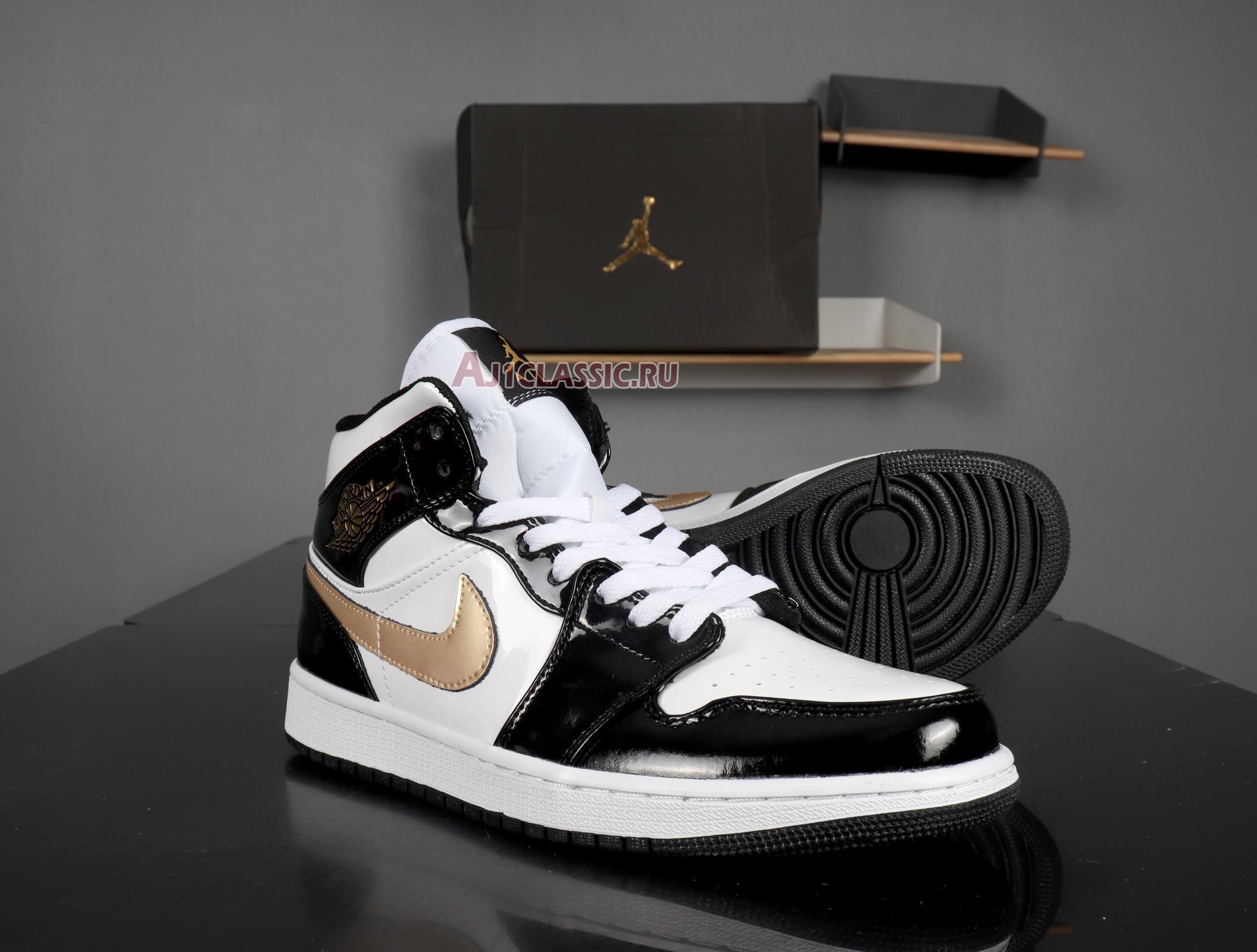 "Air Jordan 1 Mid Patent ""Black Gold"" 852542-007"