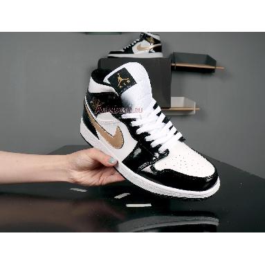 Air Jordan 1 Mid Patent Black Gold 852542-007 Black/White-Metallic Gold Sneakers