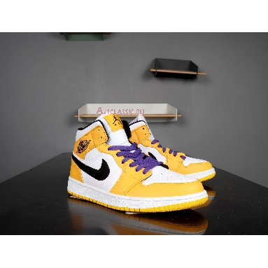 Air Jordan 1 Mid Lakers 852542-700 University Gold/Pale Ivory-Court Purple-Black Sneakers