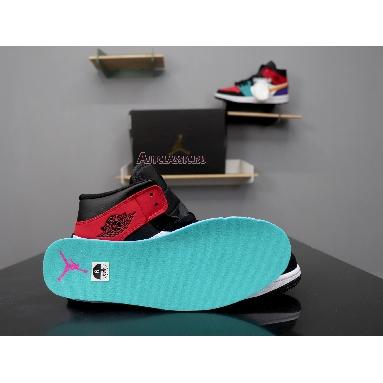 Air Jordan 1 Mid Multi-Color 554724-125 White/Black-Turbo Green-University Red Sneakers