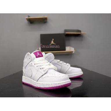 Air Jordan 1 Mid GS Fuchsia 555112-100 White/Fuchsia Blast/White Sneakers