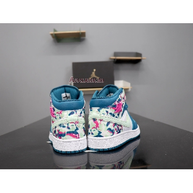 Air Jordan 1 Mid GS Paint Stroke 555112-300 Green/ Abyss Frosted Spruce Sneakers