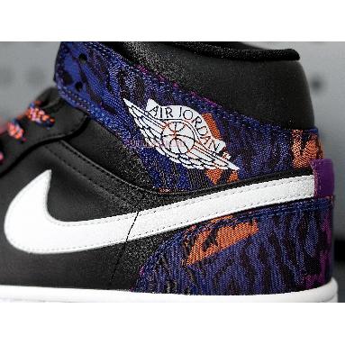 Air Jordan 1 Mid Tiger Print AV5174-005 Black/White-Rush Violet-Black Sneakers