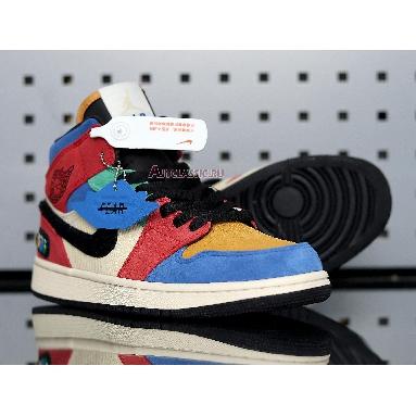 Blue The Great x Air Jordan 1 Mid Fearless CU2805-100 Muslin/Varsity Red/Royal/Taxi/Black Sneakers