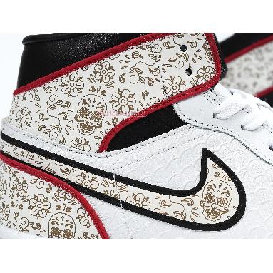 Air Jordan 1 Mid Day of the Dead BQ6827-100 White/Black/Kinetic Green Sneakers