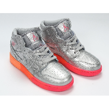 Air Jordan 1 Mid GS Metallic Silver Pink Crimson 555112-006 Metallic Silver/Racer Pink/Wolf Grey/Crimson Sneakers