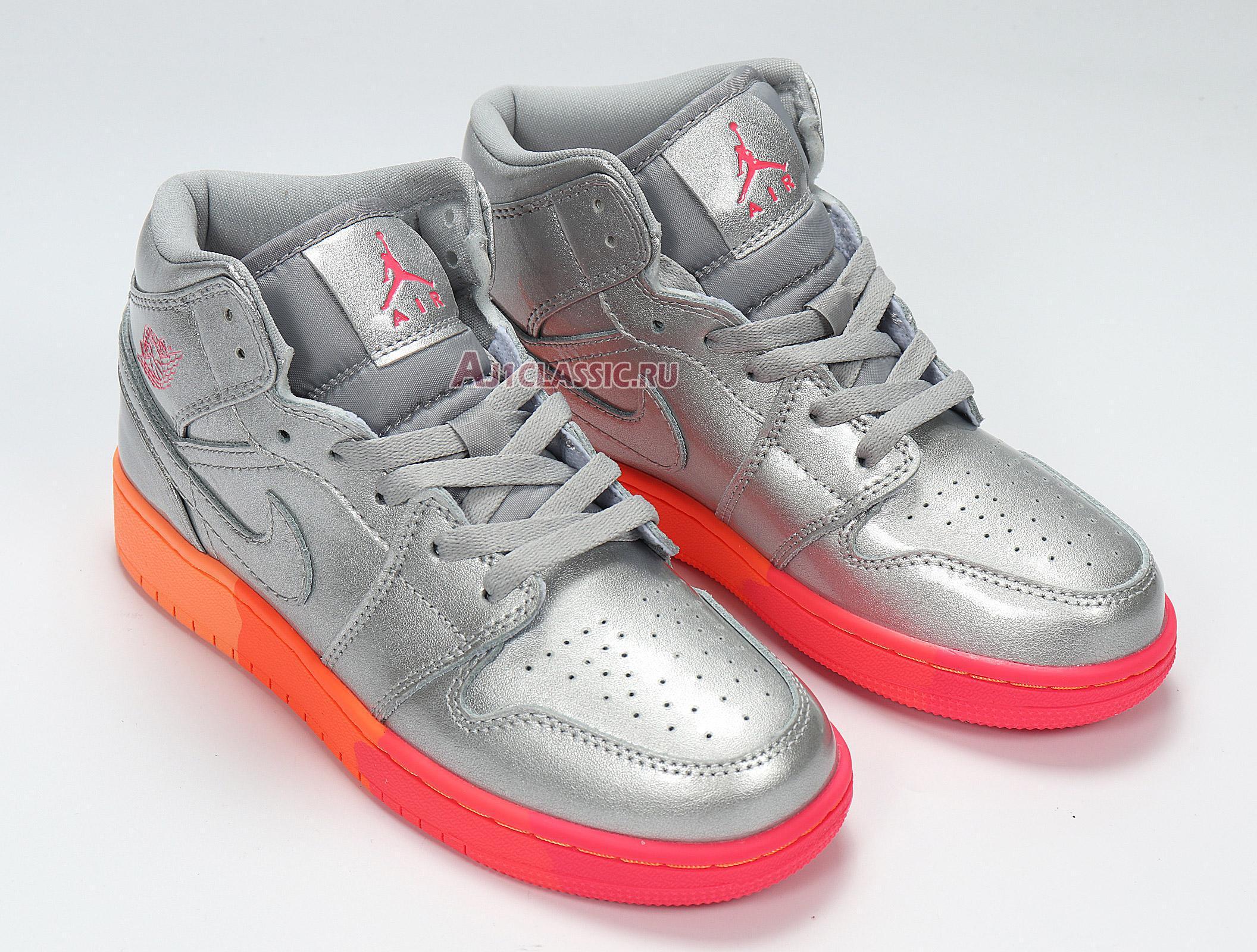 "Air Jordan 1 Mid GS ""Metallic Silver Pink Crimson"" 555112-006"