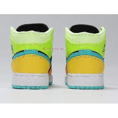 Air Jordan 1 Mid SE GS Clover BQ6931-037 Black/Aurora Green/Opti Yellow Sneakers