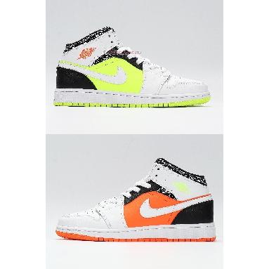 Air Jordan 1 Mid Notebook 554725-870 White/Orange/Green/Black Sneakers