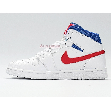 Air Jordan 1 Mid USA BQ6472-164 White/University Red/Game Royal Sneakers