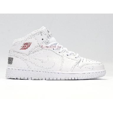 Air Jordan 1 Mid SE Euro Tour CW7589-100 White/White/Gym Red/White Sneakers