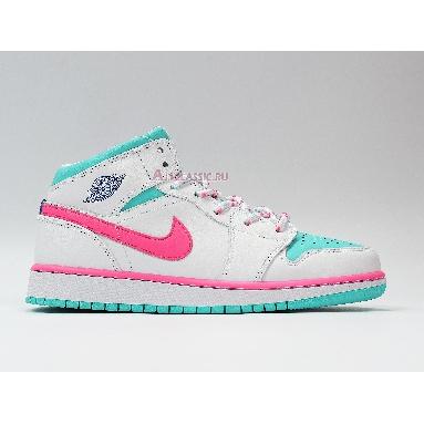Air Jordan 1 Mid GS Digital Pink 555112-102 White/Digital Pink/Aurora Green/Soar Sneakers
