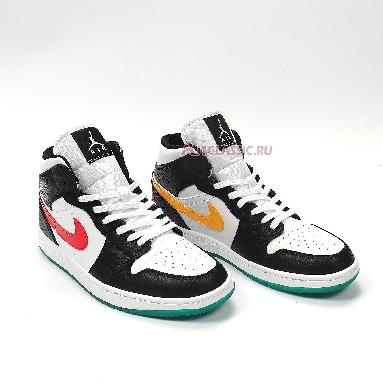 Air Jordan 1 Mid Alternate Swoosh BQ6472-063 Black/University Red/White/Lucid Green Sneakers