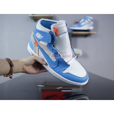 Off-White x Air Jordan 1 Retro High OG UNC AQ0818-148 White/Dark Powder Blue-Cone Sneakers