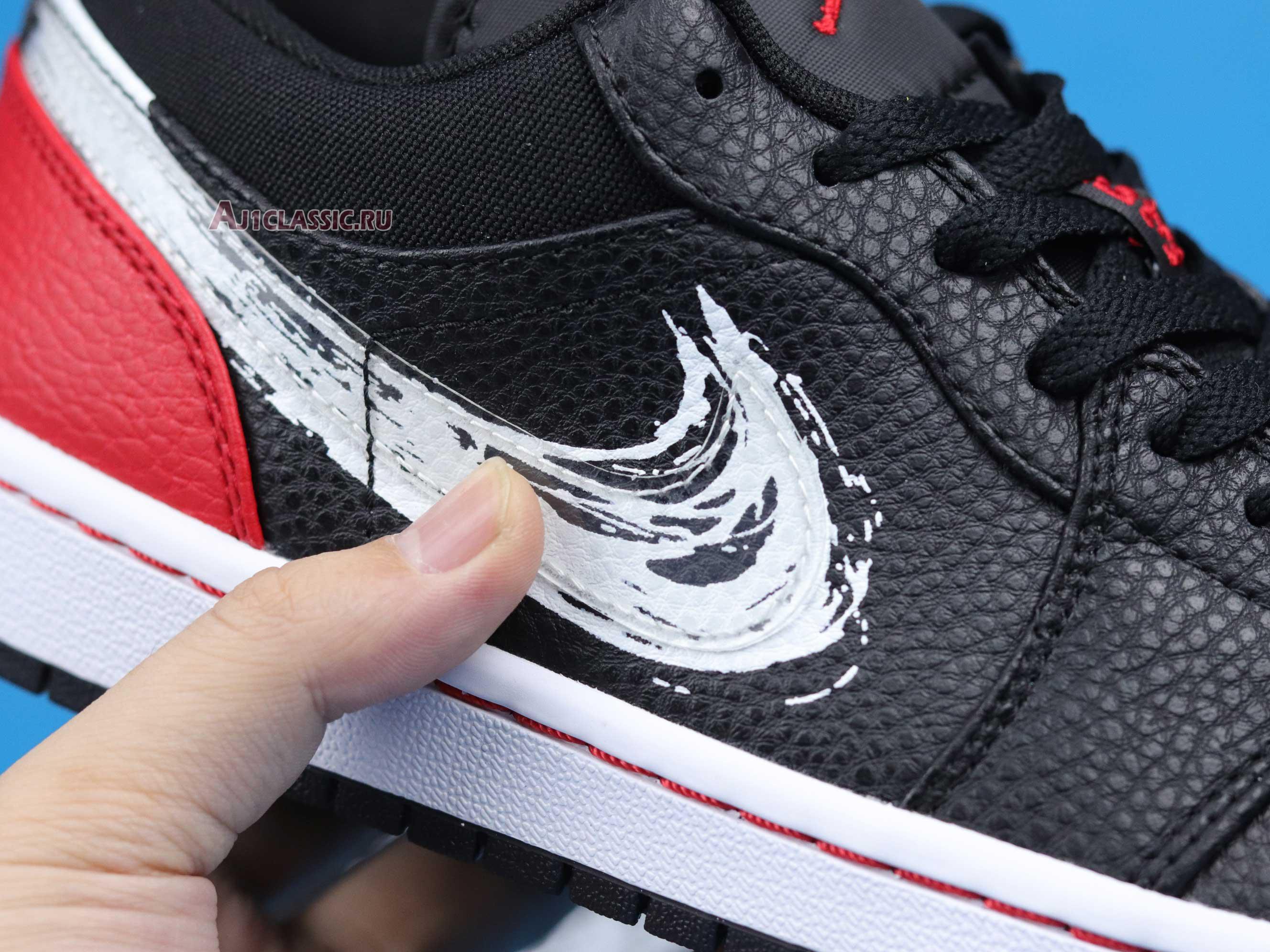 """Air Jordan 1 Low """"Brushstroke Swoosh - Black Red"""" DA4659-001"""