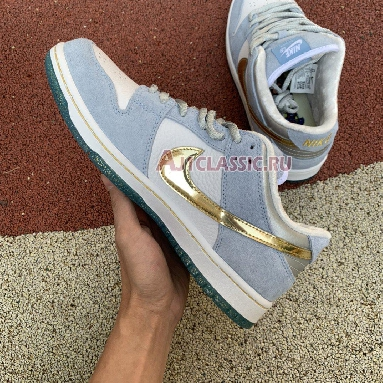 Sean Cliver x Nike SB Dunk Low DC9936-100 White/Psychic Blue-Metallic Gold Sneakers