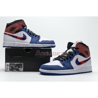 Air Jordan 1 Mid Multicolored Swoosh 852542-146 White/Blue/Red Sneakers