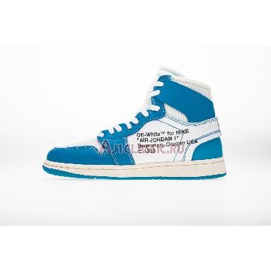 Off-White x Air Jordan 1 Retro High OG UNC AQ0818-148-2 White/Dark Powder Blue-Cone Sneakers