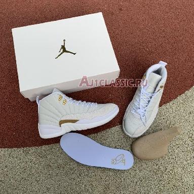 Air Jordan 12 Retro OVO White 873864-102 White/Metallic Gold-White Sneakers