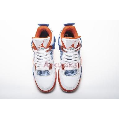 Air Jordan 4 Retro Knicks 308497-171 White/Old Royal-University Orange-Tech Grey Sneakers
