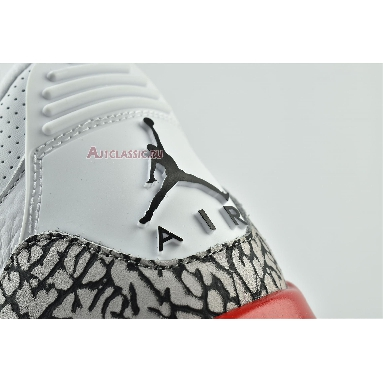 Air Jordan 3 Retro Hall of Fame 136064-116 White/Cement Grey-Black-Fire Red Sneakers
