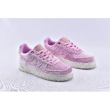Nike Air Force 1 Low 07 Premium Pink Velour AT4144-600 Pink Rise/Pink Rise-Sail-Metallic Gold Sneakers