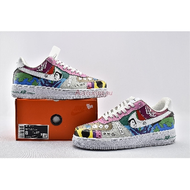Ruohan Wang x Nike Air Force 1 Flyleather CZ3990-900 Red/Pink/Green/Blue/White Sneakers