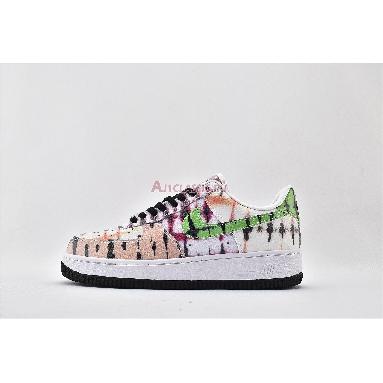 Nike Air Force 1 Low Black Tie Dye CW1267-101 White/Green Strike/Washed Coral/Black Sneakers