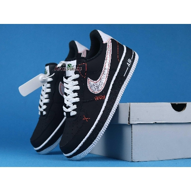 Nike Air Force 1 Low 07 LV8 Exposed Stitching CU6646-001 Black/White/Bright Crimson/Green Strike Sneakers