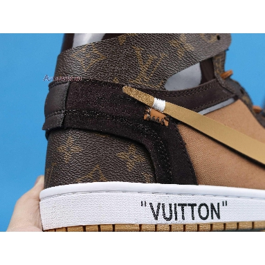 Louis Vuitton x Off-White x Air Jordan 1 Off-Louis AQ0818-202 Brown/Brown-White (Full Set LV Box) Sneakers