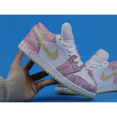 Air Jordan 1 Low GS Strawberry Ice Cream CW7104-601 Arctic Punch/Pale Vanilla/White Sneakers